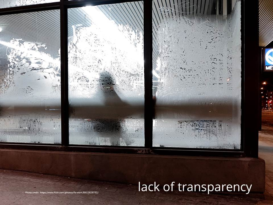 Lack of transparency - http://www.flickr.com/photos/flowizm/8412629752