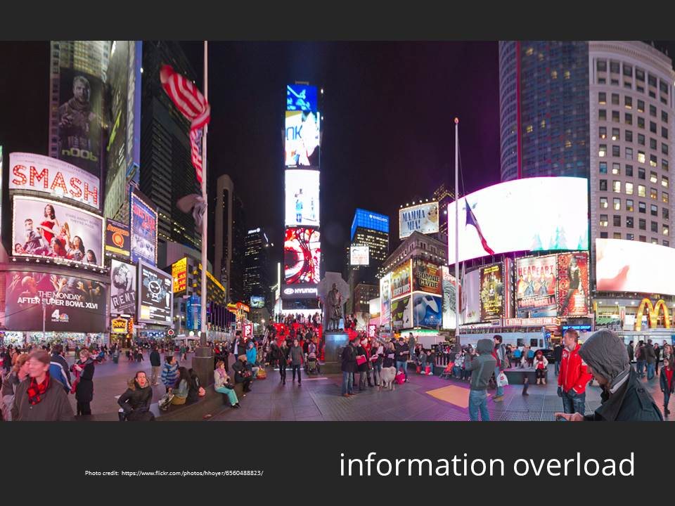 information overload - http://www.flickr.com/photos/hhoyer/6560488823