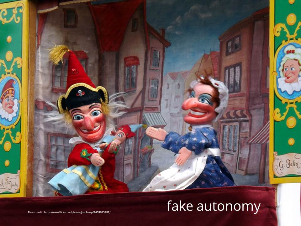 fake autonomy - http://www.flickr.com/photos/just1snap/9409615481